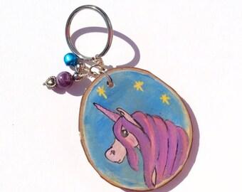 Keyring Keychain Purple Unicorn Horse Lover Wooden Tree Slice Hand painted
