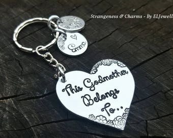 Hand Stamped 'This Godmother Belongs To' Heart Keychain, Godmother Gift,Godparents, Godmother Keyring, Christsning Gift, Naming Ceremony.