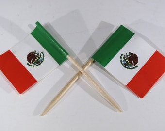 """50pc """"Mexico flag"""" tooth pick / cake topper (D57)"""
