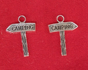 "10pc ""camping"" charms in antique silver style (BC1204)"
