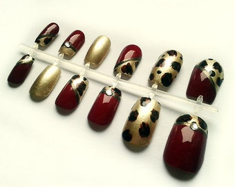 Leopard Print Hand Painted Fake Nails with Gems, False Nails, Artificial Nail Set, European Short Nail Art Design