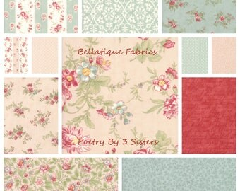 3 Sisters POETRY Fat Quarters 12 (12fq's) in the Blush and Mist Color Palette For Moda Fabric