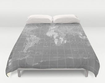 Gray World Map Duvet Cover - comforter - bed - bedroom, travel decor, cozy soft, gray, pure  grey, winter, warm, wanderlust