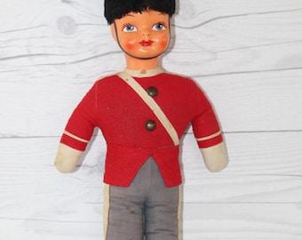 Vintage Royal Guardsman Plush Doll, Vintage Stuffed Soldier Doll