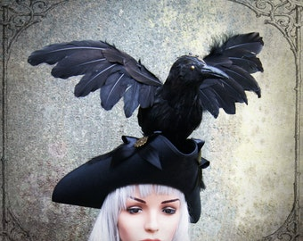 "Tricorn ""Nevermore"" ( steampunk, black, goth )"