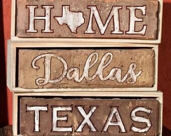Dallas, Ft Worth, Houston, ATX, Longhorn, Texas, USA repurposed engraved Brick