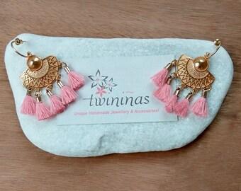 Ayana Boho Gold Earrings/ Gold Plated Brass / Peach-Pink Tassel Earrings / Metal Elements / Cotton Tassel Dangle Handmade Earrings