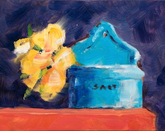 Expressive Oil Painting of an Antique Salt Bin - Oil Paintings - 5x7 Original Art - Daily Painting - Still Life Oil Painting - Kitchen Decor