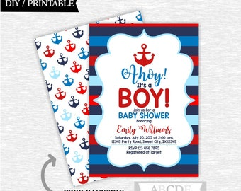 Nautical baby shower invitation Blue Red Navy Nautical Boy Baby Shower invitation Nautical invitation Printable baby shower invite (SWN205)