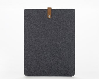 Macbook Pro 13 Felt Sleeve - Cover for Macbook 13 Pro - Felt and Leather Macbook Cover - Leather Macbook 13 Pro Case - Grey Felt
