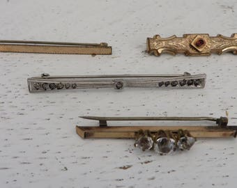 Four Victorian Antique Pins/Sterling/Crystal/Edwardian