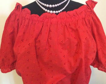Red Sweetheart Peasant Blouse - L