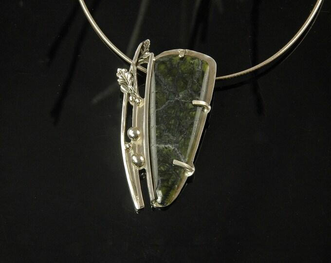 Norwegian peridot in matrix necklace