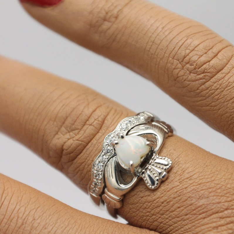Real Opal Irish Claddagh Ring Set With Matching Band. Opal Ring, Engagement  Ring, Opal Wedding Ring.