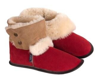 Reversed Sheepskin and Suede Booties - Santa's Red