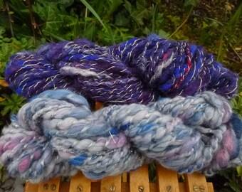 Handspun art yarn, Hand-Dyed Yarn, Bulky Yarn, Thick & Thin Yarn: BUNDLE OF SKY