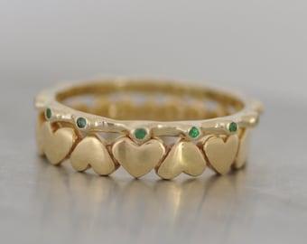 Set Of Gold Stacking Rings , Gold Gemstones Rings , Tow Gold Rings , 14K gold set Of Rings , Gold Stacking Rings , Set Of Stacking Rings