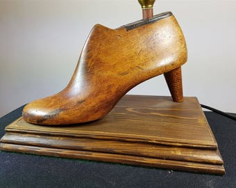 Vintage High Heel Shoe Table Lamp Made from Antique Wooden Shoe Cobblers Form and Wood