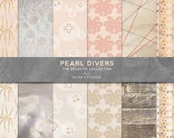 Pearl Divers: Rose Gold Foil Digital Graphic Background Patterns and Textures with Octopus and Jellyfish in Pale Pinks and Creams