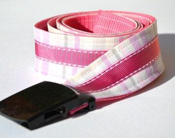 Fabric - purple pink checkered colorful belt XL