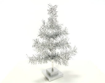 "18"" Silver Feather Tinsel Christmas Tree Table-Top Centerpiece Tree"