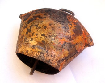 Vintage Bulgarian Copper Cow Bell / Large Primitive Cow Bell / Home decor/Hand Forged Farm Bell /1980s