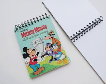 DisneyMIckey Mouse Best neighbor Award Little Golden Book Upcycled Sketchbook Notebook, Drawing Pad