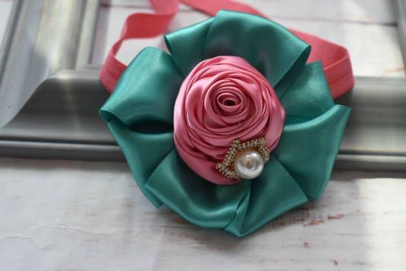 Aqua green and rose pink rosette hairband - Baby / Toddler / Girls / Kids Elastic Flower  / Hairband / barette / Headband / photo prop /