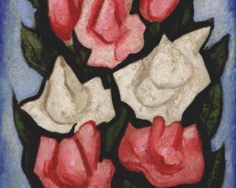 Roses and a Metthey Vase PDF Cross Stitch Pattern