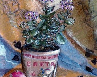 "Original Pastel Painting, FREE SHIPPING Worldwide, 8"" x 11"", StillLife, Wall Decor, Easter Bunny, Alice in wonderland, rabbit, Birthday gift"