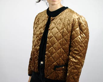 Vintage 80s Faux Velvet Gold Quilted Jacket Short Puffed Sleeve Women Womens M