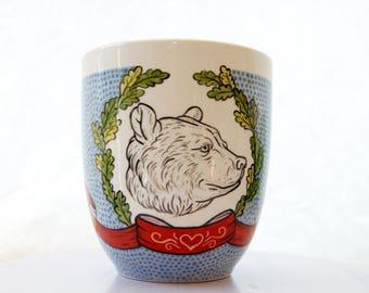 Bear Cup // hand painted Grizzly Bear mug// Coffee Mugs //Illustrated Bear cup