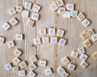 Vintage Scrabble tiles, wood, red, blue, set of 51, blue and red letters, Scrabble letters, game parts, colored scrabble, craft materials