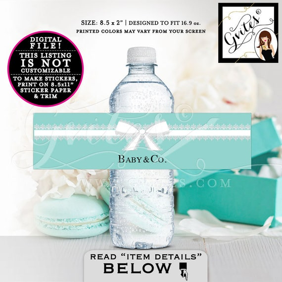 "Baby & Co Water Labels, BABY SHOWER, Breakfast at shower blue labels, stickers tags, party favors PRINTABLE Instant Download 8.5x2"" 3 Per/Sh"