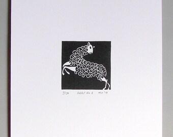 Sheep Linocut Print // Handmade // Limited Edition