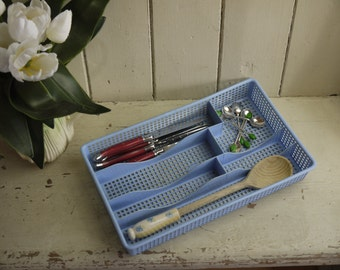 Vintage Pastel Blue Cutlery Tray - Made in England