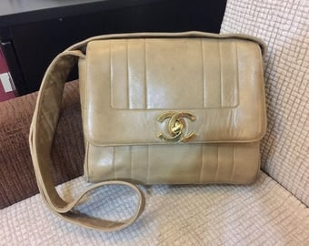 CHANEL Final Sale! From 550 - Medium/Large Vertical Stripe Beige Flap Bag Crossbody