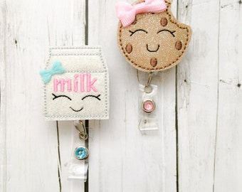 Glitter Chocolate Chip Cookie & Milk Nurse Badge Holder Set - Felt Badge Reel - Unique Retractable ID Badge Holder Lanyard RN professional