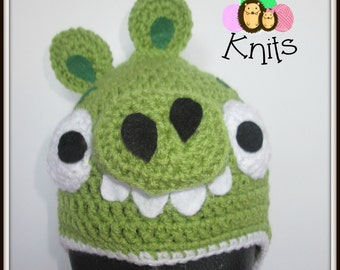 Crochet Angry Birds green pig Hat. Prices vary, please see full listing