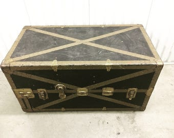 "From the set of TV show ""Grimm!"" - 1900's Vintage Black and Tan Garment Wardrobe Metal Steamer Trunk"