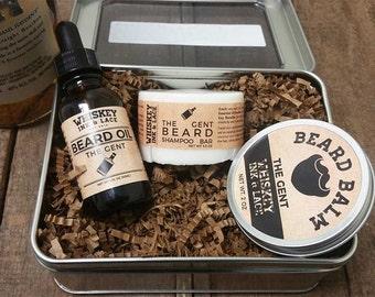 The Gent Beard Kit - Whiskey-inspired scented beard grooming kit, men's grooming kit, Whiskey Beard Kit Beard Care Kit, Whiskey Gift