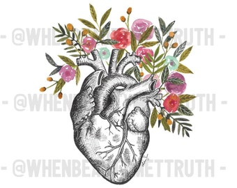 Anatomical Heart with Leaves and Flowers/ illustration / art print