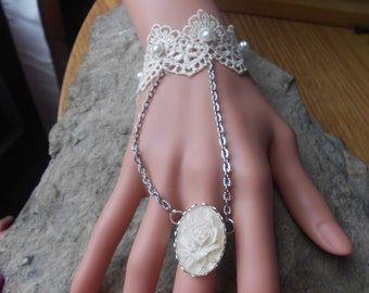 White Rose Cameo Ring with Attached Lace Bracelet Set - Chains - Victorian - Bridal - Wedding