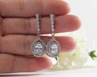 Crystal Cubic Zirconia Earrings, CZ Bar Studs, Dangle, 925 Sterling Silver Post, Wedding Jewelry, Bridal, Bridesmaids, Gifts - 17S10E