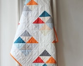 PRIVATE LISTING for Kelty: Custom modern baby quilt--bright geometric design