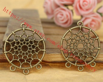 wholesale 100pcs antiqued bronze 34x27mm spider web round connector charms findings--perfect for making necklace--4 loops