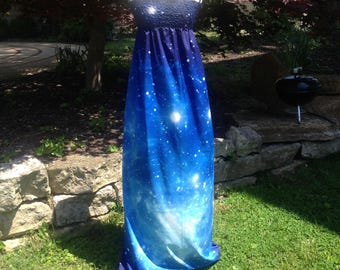 Indigo Cosmic Star Light Outerspace Galaxy Maxi Long Dress