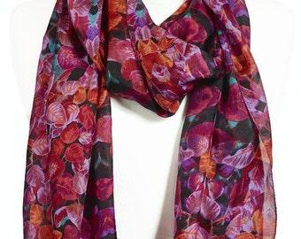 100% Silk Floral Scarf, Ladies Pink Purple Flower print Scarf, Large Flowers Scarf