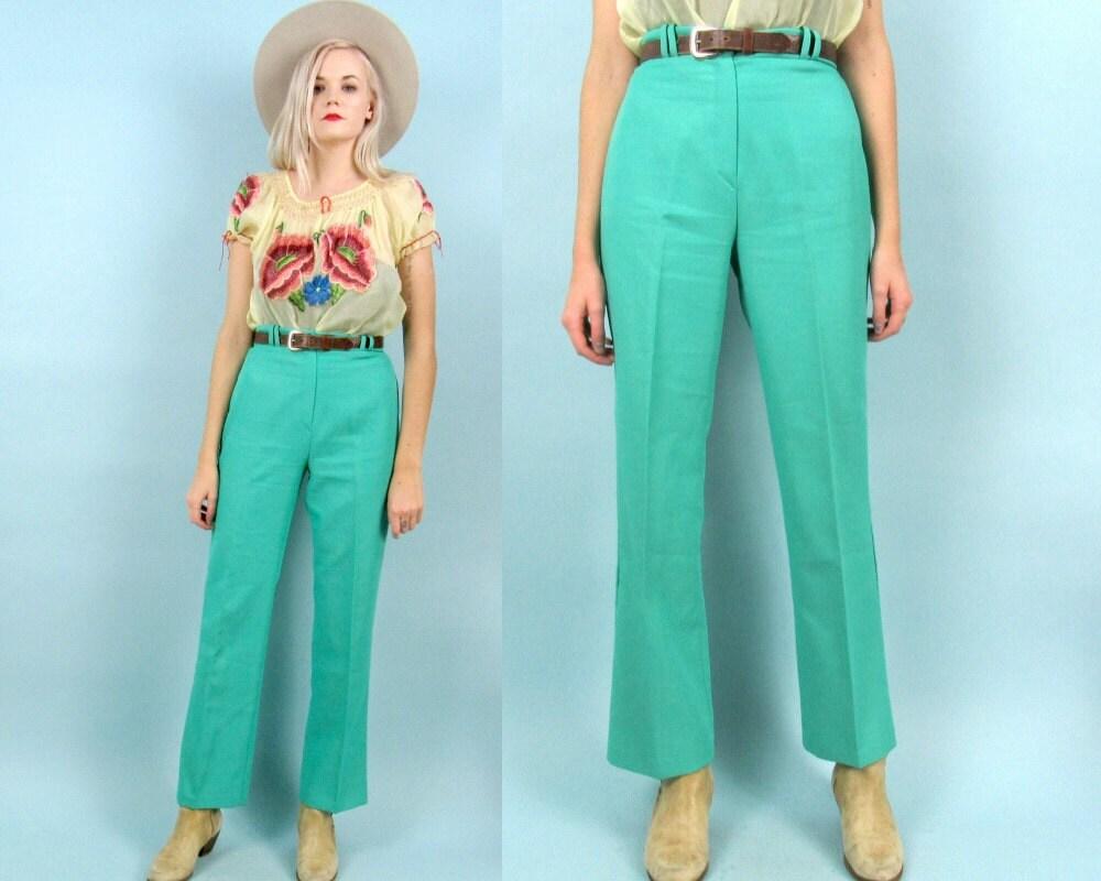 des ann es 70 turquoise pantalon taille haute taille moyenne. Black Bedroom Furniture Sets. Home Design Ideas