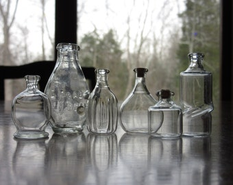 Six Itsy Bitsy Teeny Tiny Vintage Glass Bottles, Clear, Blown, Bubbles, Corks, Knick Knacks, Small Collectibles, Miniature, Baby Dear, Magic